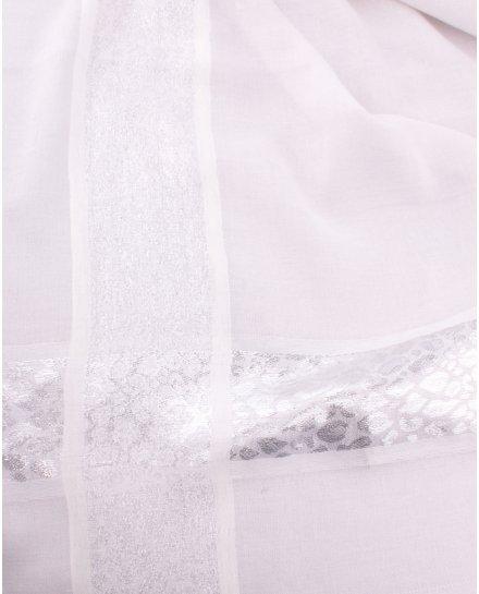 Echarpe carrée grise bandeaux argent Tachilia