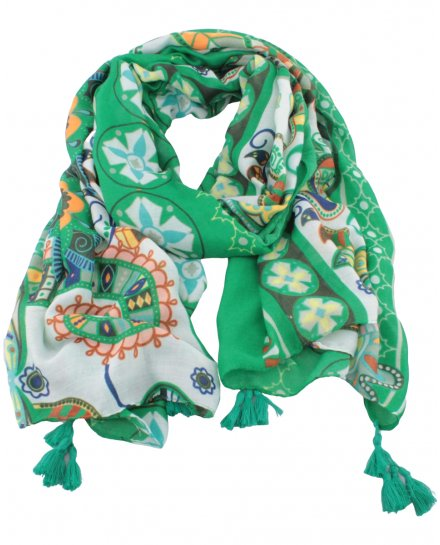 Echarpe verte à feuillages ethniques multicolores et pompons