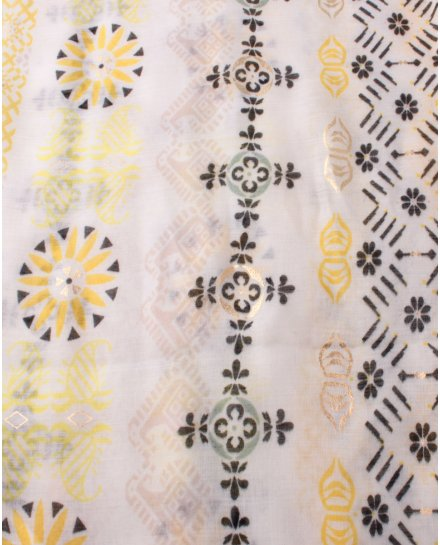 Echarpe blanche motifs jaunes verts et dorés Failladi