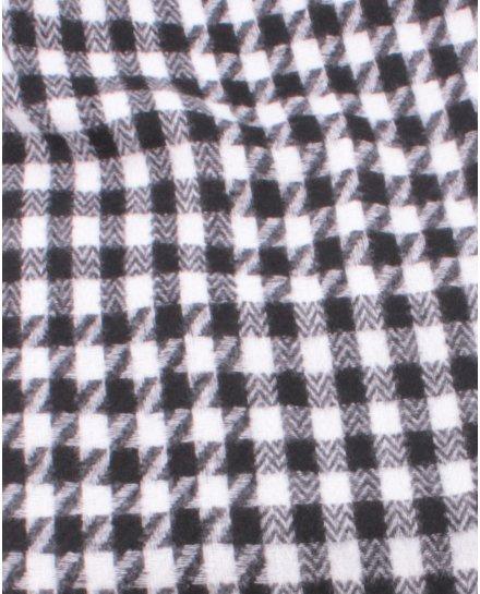 Grosse écharpe à carreaux pied de poule et franges