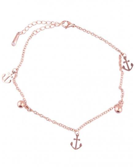Bracelet de cheville ancre marine acier cuivré