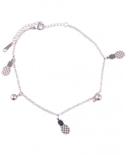 Bracelet de cheville ananas acier argenté