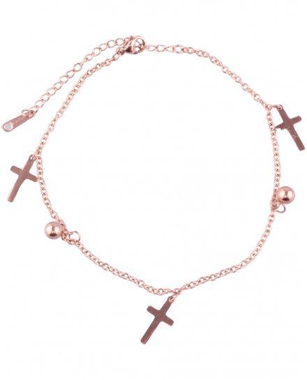 Bracelet de cheville croix acier cuivré
