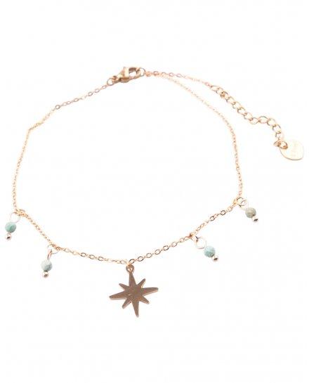 Bracelet de cheville étoile acier doré et perles vertes