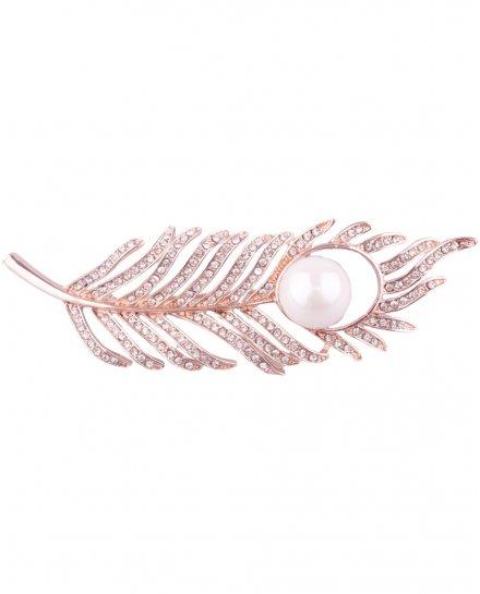 Broche plume cuivrée à strass et perle