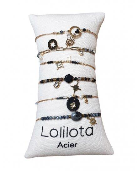 Bracelet réglable acier doré LOL étincelle strass et perles