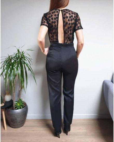 Combinaison pantalon noire dos nu manches courtes dentelle