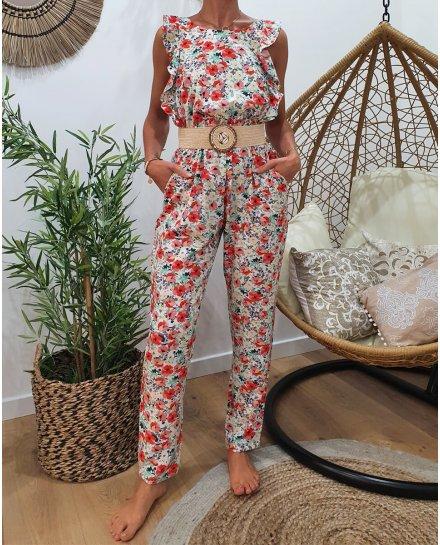 Combinaison pantalon blanche imprimé floral rose vert et gris