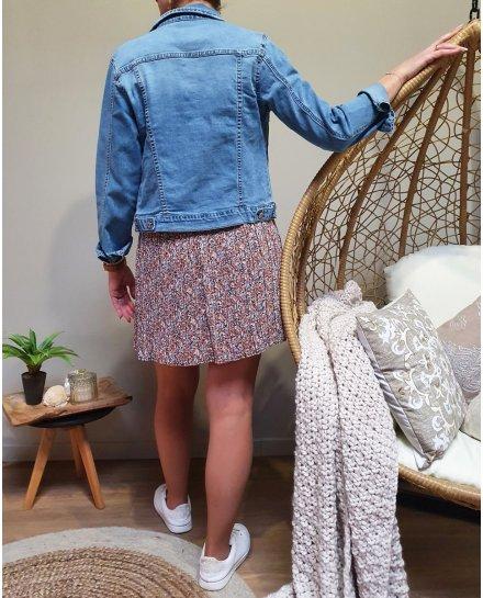 Petite jupe plissée fleurs roses bleues corail