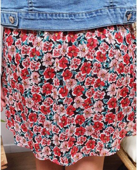 Petite jupe plissée fleurs rouges et roses liseré argent
