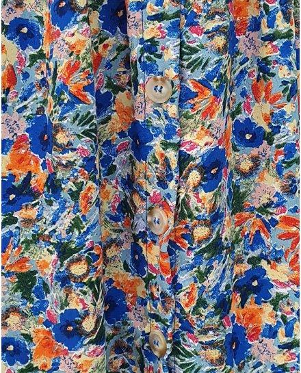 Jupe longue boutonnée sur le devant imprimé floral bleu et orange