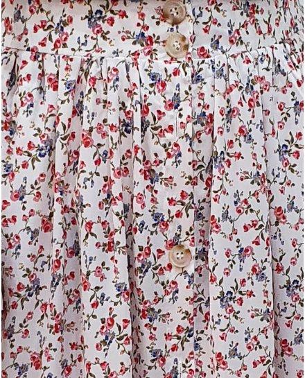 Jupe longue boutonnée sur le devant imprimé floral rouge et vert