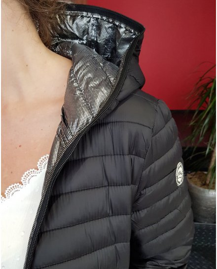 Doudoune noire cintrée intérieur pois argentés