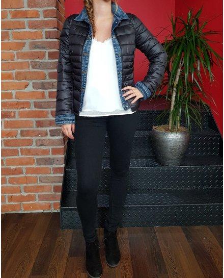 Doudoune noire rebords jeans