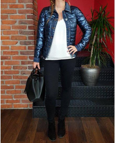 Doudoune bleu métallisé rebords jeans