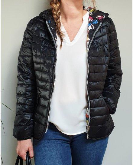 Doudoune noire à capuche intérieur imprimés multicolores