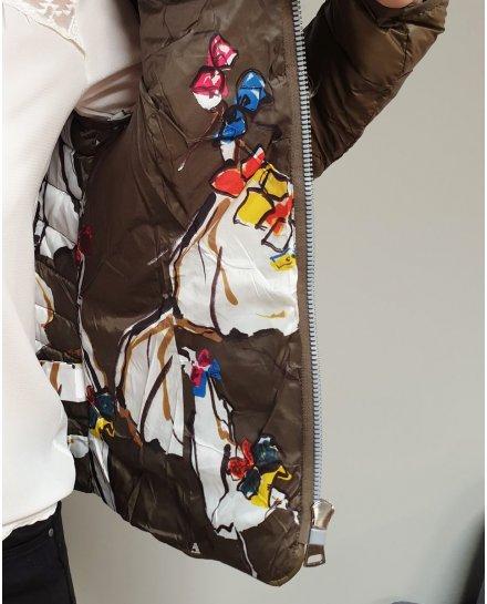 Doudoune kaki à capuche intérieur imprimés multicolores