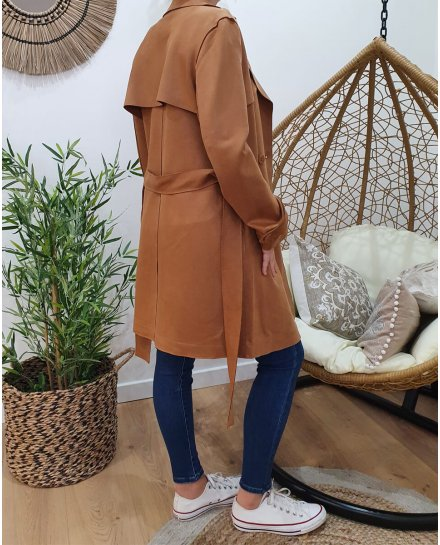 Manteau trench camel