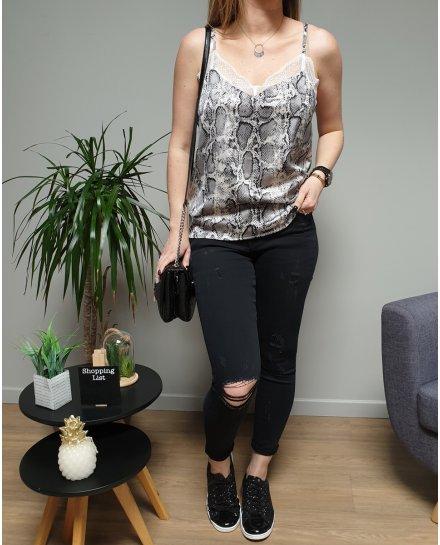 Pantalon slim noir troué genoux et cuisse skinny taille haute