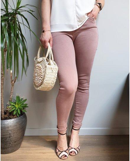 Pantalon vieux rose foncé slim taille haute