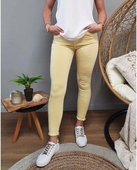 Pantalon jaune 7/8 skinny taille haute