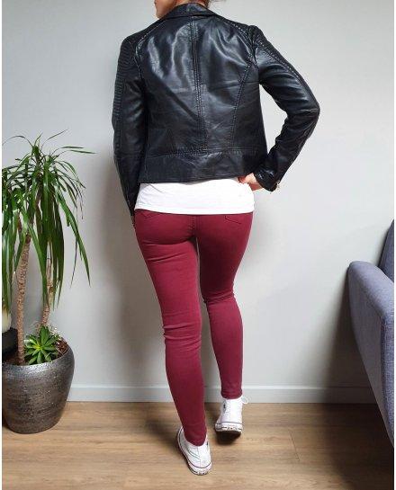 Pantalon rouge bordeaux skinny taille haute