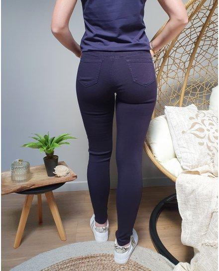 Pantalon bleu marine skinny taille haute
