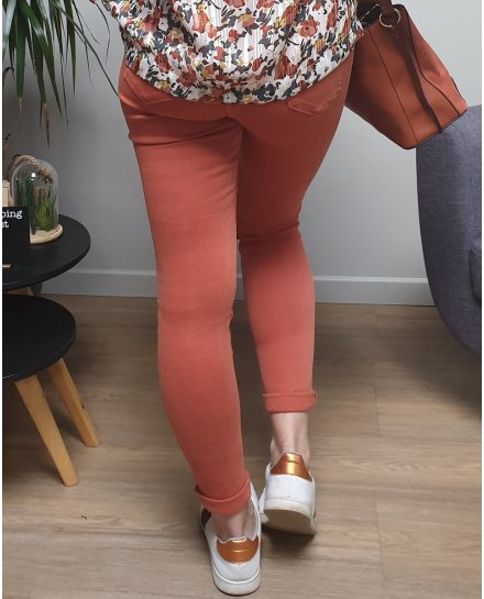 Pantalon brique skinny taille haute