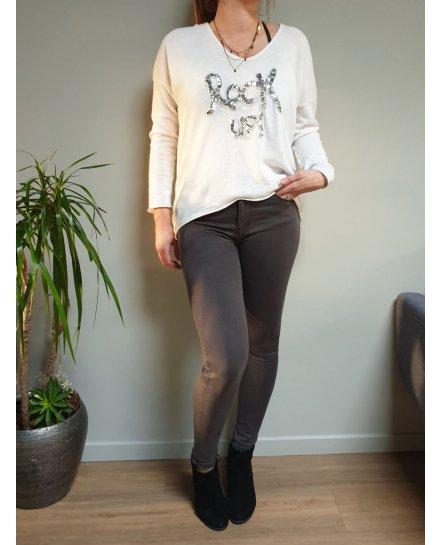 Pantalon gris foncé skinny push up taille haute