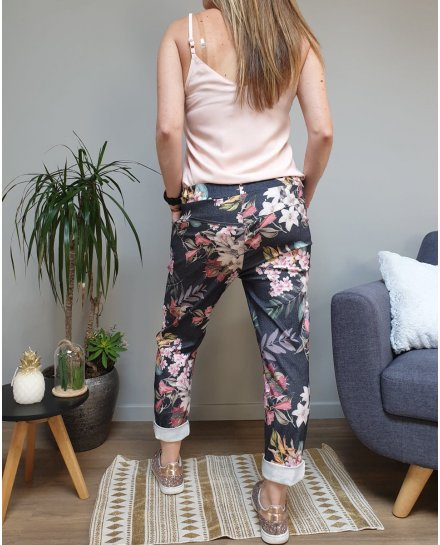 Pantalon fluide elastiqué noir fleurs multicolores