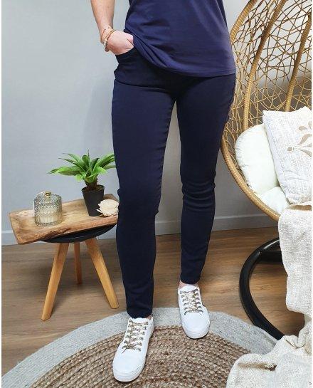Pantalon bleu marine skinny push up coupe confort