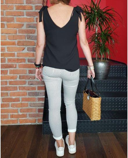 Pantalon Slim pied de poule noir et blanc