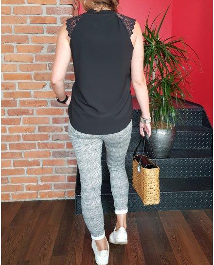 Pantalon Slim prince de galles noir et blanc ligne marron