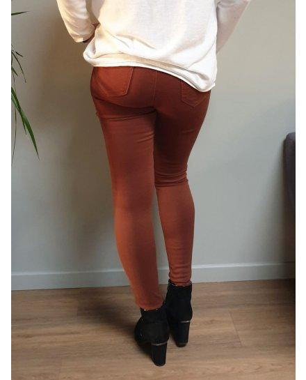 Pantalon marron slim push up taille haute