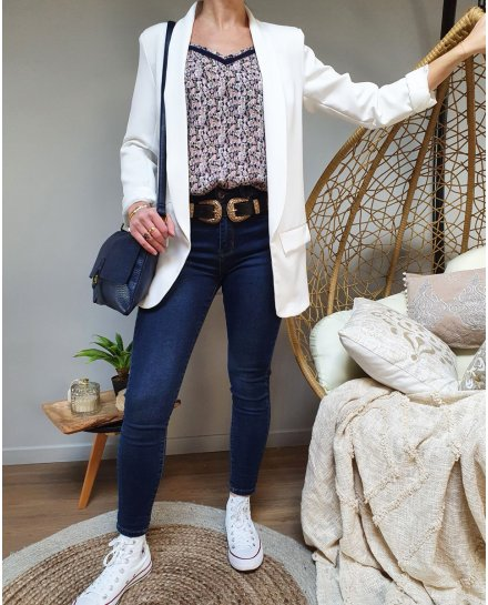 Jean bleu foncé légèrement délavé skinny taille haute