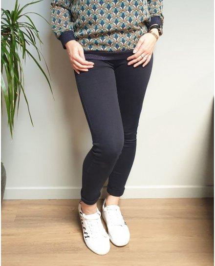 Pantalon slim marine push up taille haute