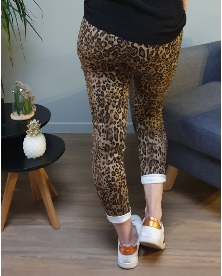 Pantalon slim léopard marron
