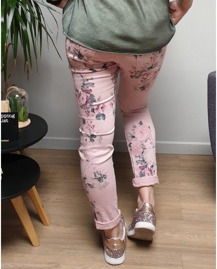 Pantalon rose à fleurs coupe confort