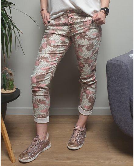 Pantalon vert d'eau fleurs roses et taupes