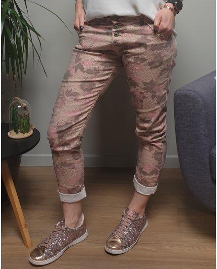 Pantalon beige fleurs roses et taupes