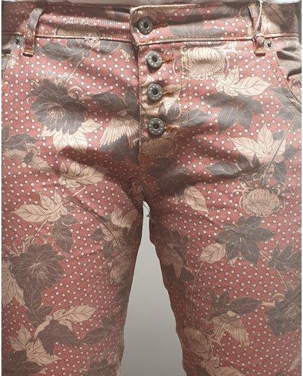 Pantalon corail fleurs bleiges et taupes