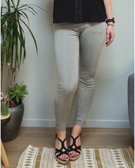 Pantalon gris clair skinny taille haute