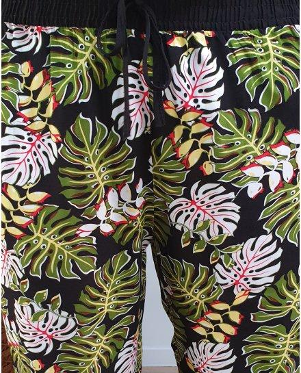 Pantalon fluide elastique noir feuilles exotiques vertes et blanches