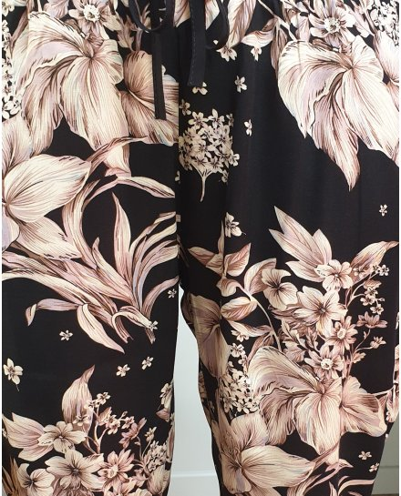 Pantalon fluide elastique noir fleurs beiges roses taupes