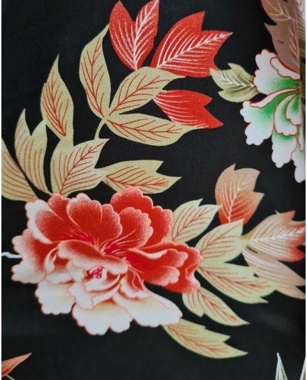 Pantalon fluide elastique noir fleurs kaki blanches et briques