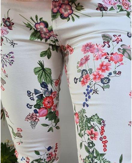 Pantalon blanc fleurs roses vertes et bleues taille haute