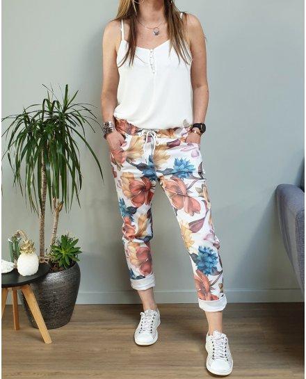 Pantalon fluide blanc grosses fleurs oranges bleues et roses