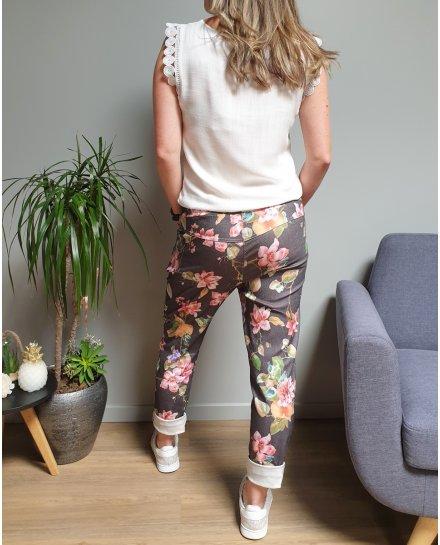 Pantalon fluide noir grosses fleurs multicolores