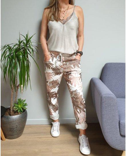 Pantalon fluide blanc feuillages rose et kaki