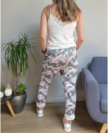 Pantalon fluide blanc feuillages kaki et petites feuilles roses